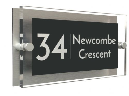 Rectangle Shape - Clear Acrylic House Sign - Anthracite Colour with White text in Font  3
